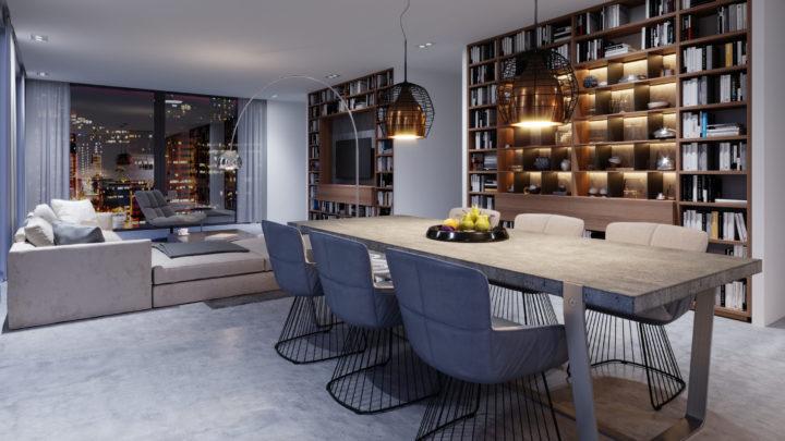 Table contemporaine en bois massif et métal